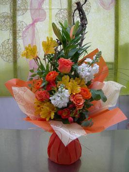 Bouquet bulle en hauteur orangé