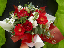 Bouquet bulle rouge / blanc