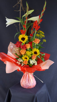 Bouquet bulle en hauteur ton coloré