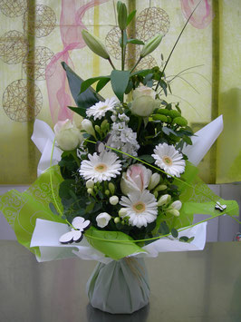 Bouquet bulle en hauteur blanc / vert