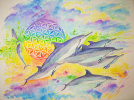 商品名 Dolphin with Flower of Life R