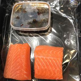 2 x 150 gram zalmrug met Teriyaki saus