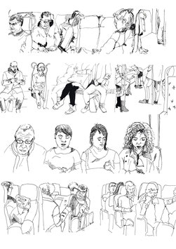 Poster van mensen in het openbaar vervoer