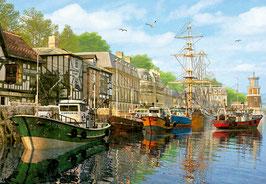 Tableau à l'ancienne de bateaux à quai  (puzzle 2000 pièces)