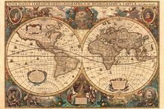 Mappemonde ancienne par  Henricus Hondius (5000 pièces)