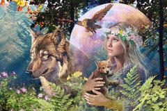 Loups au clair de lune (puzzle 3000 pièces)