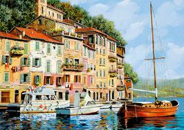 Tableau d'une barque au quai par Guido Borelli   (puzzle 2000 pièces)