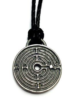 124 Lederkette mit Anhänger CHARTRES Labyrinth Silber