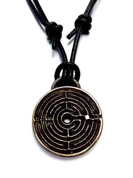 124 Lederkette mit Anhänger CHARTRES Labyrinth Bronze