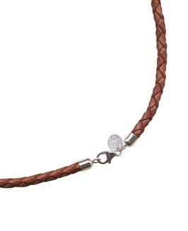 Geflochtene Lederkette, Braun, 3 mm