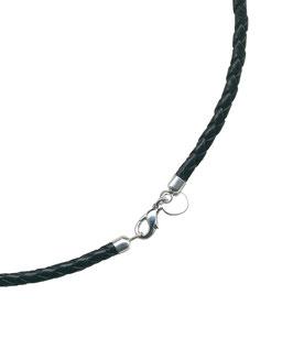 Geflochtene Lederkette, Schwarz, 3 mm
