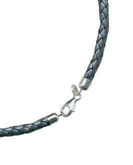 Geflochtene Lederkette, Metallic-Silber, 7 mm