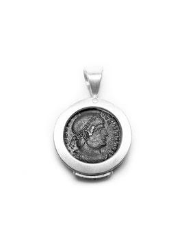 Antike Zeugnisse Anhänger KONSTANTIN GLORIA Trier RIC 7-459 Silber