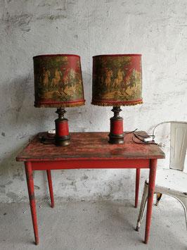 1 Paar Tischleuchten mit Reiterszenenmotiv Nr 1110-02