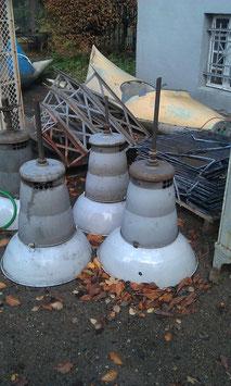 große Hängelampe Fabriklampe hellgrau XL