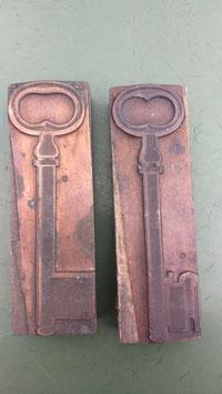 2er Set alte Stempel aus Holz/Kupfer Schüssel Nr 3