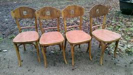 4er Set restaurierte antike Bistrostühle Hofmann