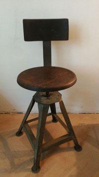 alter Arbeitshocker drehbar höhenverstellbar mit Lehne Nr 1510-03