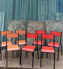 7 alte Bauhaus Schulstühle Stühle VINTAGE lot 1506 rot und orange