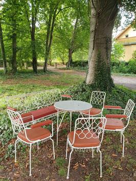 Set alte DDR Gartenmöbel rot weiß Nr 1510