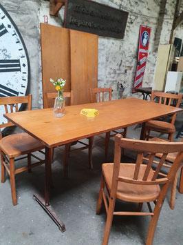 antiker Schultisch als Bistrotisch Schreibtisch Esstisch Buche 160 cm Nr 2505-01