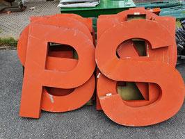 Große Vintage Buchstaben orange-rot Nr 1907-05