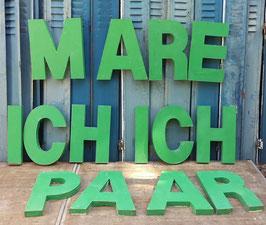 Alte Werbebuchstaben Blech 45 cm grün 1405rest