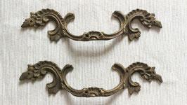 2er Set alte antike Möbelbeschläge Griff Jugendstil Messing Nr 0212-03