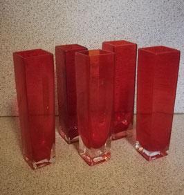 5er Set alte Vasen aus rotem Glas (durchgefärbt) Nr 1411