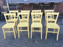 7er Set schöne Bistrostühle antike Holzstühle creme-gelb 2205-01