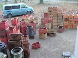 alte Stapelboxen aus Vulkanfiber Vintage 2106-02