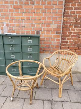 Set alte Rattanmöbel Tischgestell und Sessel  Bambus 50er Jahre Nr 0610