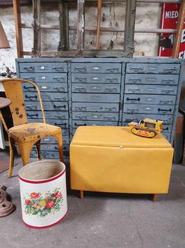 alter 60er Jahre Wäschekorb gelb Nr 0705