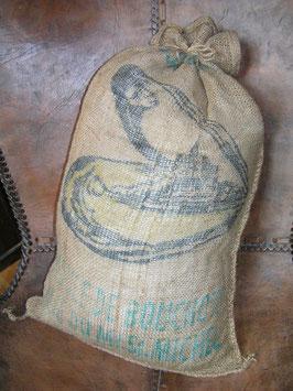 alte Jutesäcke mit Muscheln Druck