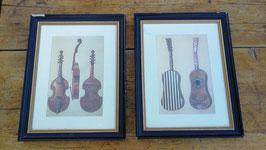 2er Set alte Bilder mit Rahmen Geige Gitarre