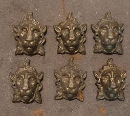 Konvolut 7 Stück alte Beschläge Möbelbeschläge Löwenkopf Messing groß Nr 2912-01