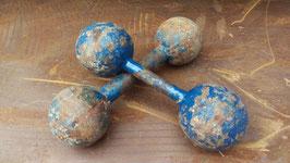 1 Paar sehr schöne antike Hanteln Kugelhanteln blau