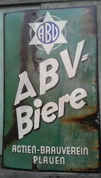 altes Emaille Schild Bier Werbeschild ABV Biere