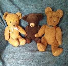 3 sehr alte, antike Teddybären Familie Nr 0410-03