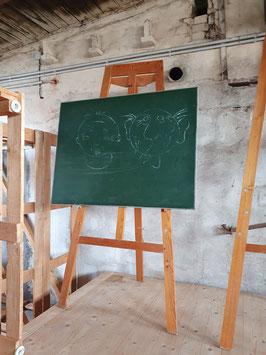 riesige Staffelei aus einer Schule mit Tafel 196 cm hoch Nr 1003-05