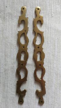 2er Set alte antike Möbelbeschläge für Schlüsselloch Jugendstil Messing Nr 0212-10