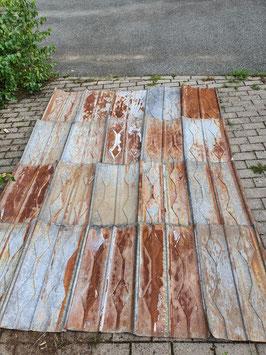ca 28 qm alte Blechschindeln Blechplatten mit Muster und Rostpatina Nr 0209-02