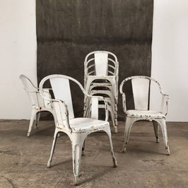 8er Set alter Tolix Stuhl Sessel seltenes Modell weiß