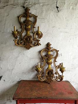 1 Paar Wandleuchten aus Holz und Metall Nr 1210