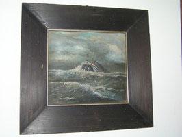 antikes Bild mit Schiff Ölgemälde