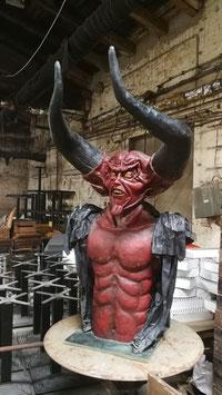 alte sehr große Teufelsbüste Teufel Figur Devil Hellboy Nr 1106