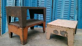 3er Set alte Metallhocker Fußhocker oder Beistelltische