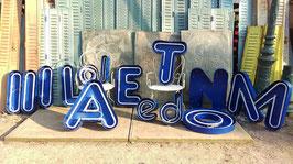 Tolle alte Leuchtbuchstaben 65 cm blau Nr 2002rest
