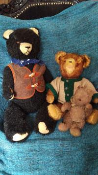 3 alte, antike Teddybären Familie Nr 0410-02