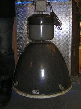 Alte Emaille Industrielampe schwarz mit GLAS - Nr1